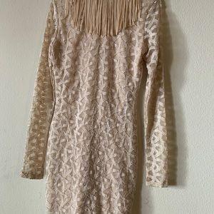 Tan fringe dress